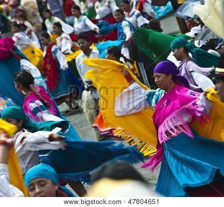 Dancers At A Parade, Quito's Day, Ecuador