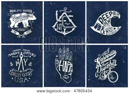 handmade illustration Sailor college bicycle set collection