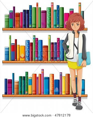 Illustration of a lady holding a book standing in front of the bookshelves on a white background