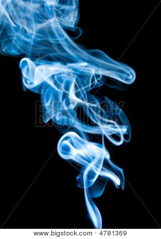 Abstract Blue Dense Smoke On Black