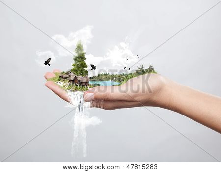 Hand Holding Nature, Concept