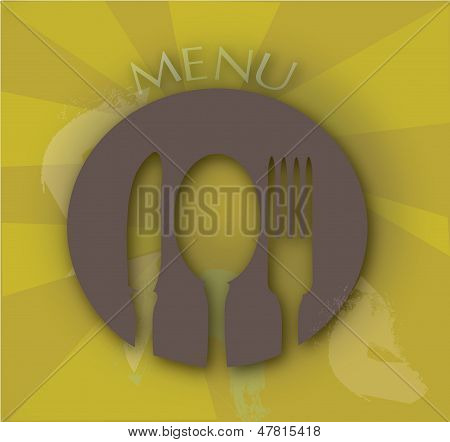 Menu Cover with fork spoon and a knife