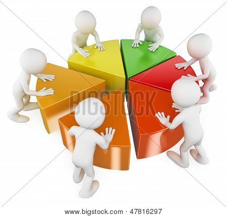 3D White People. Team With Pie Chart
