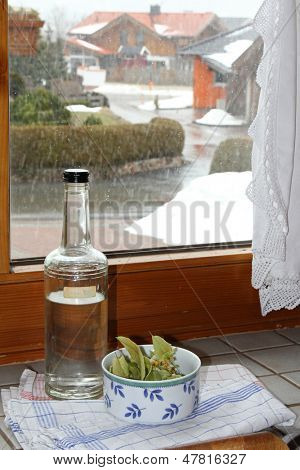 Dried European herbal medicines mixed with Schnaps to cure cold in the winter