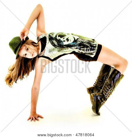 Beautiful Tween Girl Dancing Hip Hop in Studio Over White