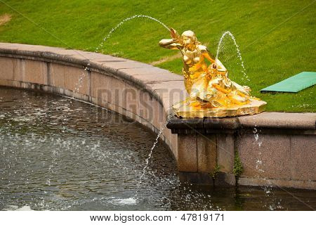 PETERHOF, RUSSIA - JULY 1: Fountains at Peterhof Palace, Russia, May 1, 2012 in Peterhof, Russia. The name was changed to Petrodvorets in 1944, the original name was restored in 1997.