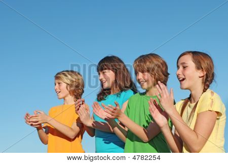 Group Of Kids Clapping