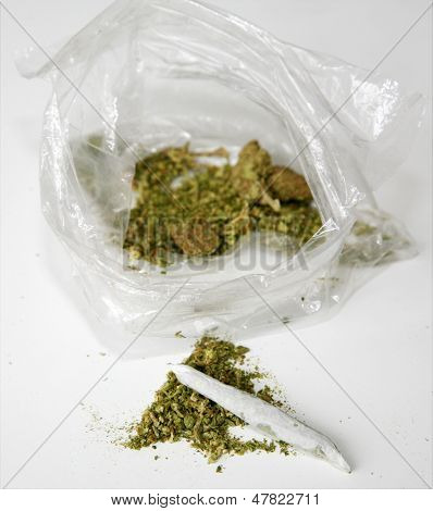Medical Marijuana aka Pot, Dope, Mary Jane, Joint, Spliff, Ganja, Weed, 420, Herb, Medicine, Hash, Hemp, Bud and many other terms. In a clear plastic sandwich bag with a Joint rolled by hand