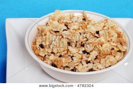 Closeup tigela de cereais com mirtilos secos