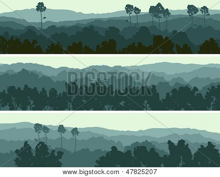 Horizontal Banners Of Hills Deciduous Wood.