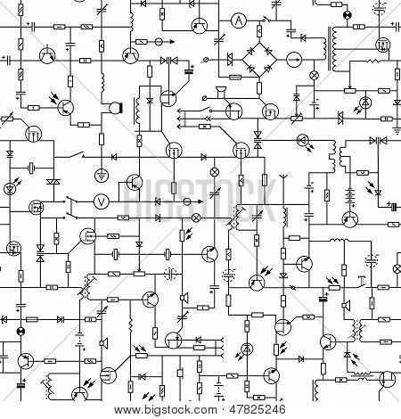 Seamless Background Of Electrical Circuit.