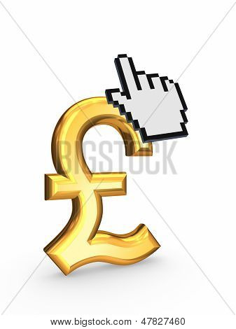 Cursor and symbol of pound sterling.
