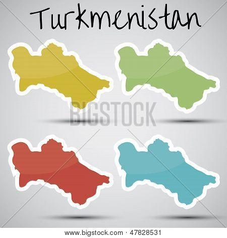 stickers in form of Turkmenistan