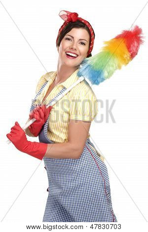 Young Happy Beautiful Woman Maid Dusting On White