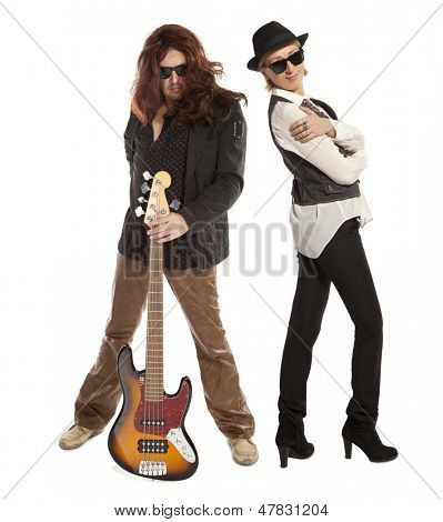 Couple duet. Woman and man with guitar on a white background