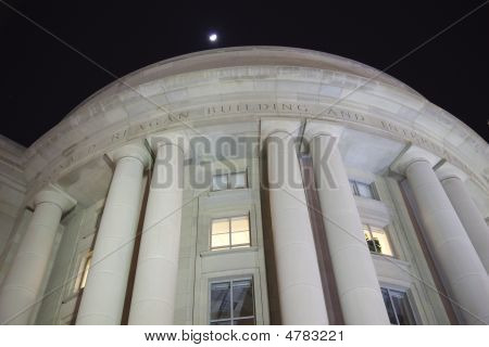 Ronald Reagan International Trade Building At Night Washington Dc