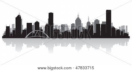 澳大利亚墨尔本的城市天际线矢量剪影 库存矢量图和