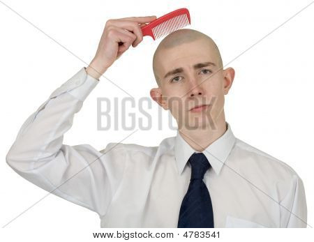 Absolutely Bald Guy With A Hairbrush