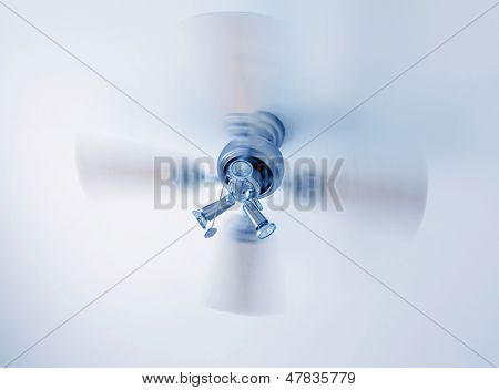 Concept of summer ceiling cooling in blue tone