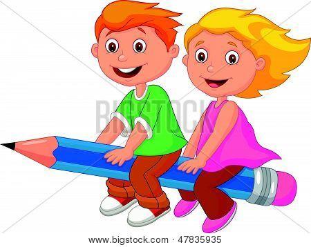 Vectores y fotos en stock de Dibujos animados niño y niña volando ...