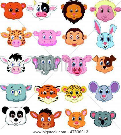 卡通动物头图标 库存矢量图和库存照片