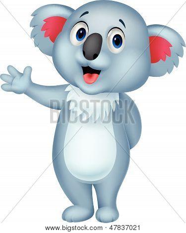 Cute koala cartoon hand waving