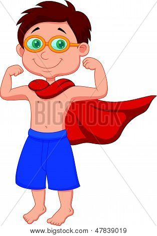 Boy cartoon pretending to be a Super Hero