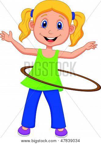 Cute girl cartoon twirling hula hoop