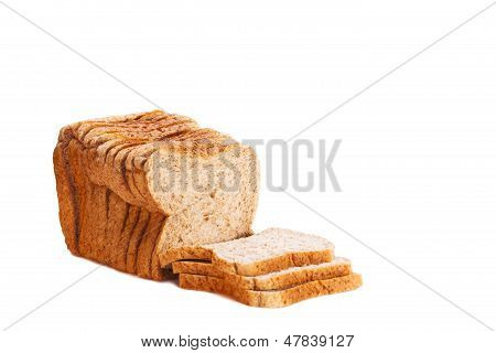 Brown wholemeal sliced loaf of bread