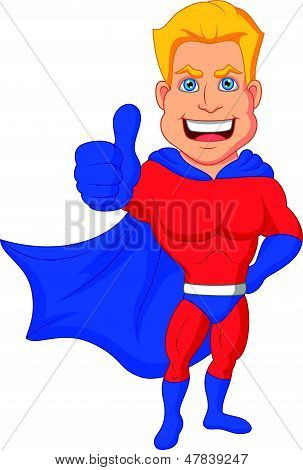 Superhero cartoon with thumb up