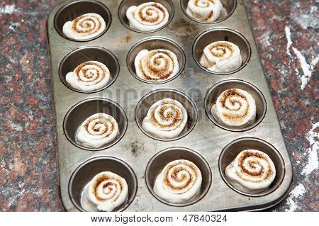 Mini Cinnamon Rolls Ready To Be Baked