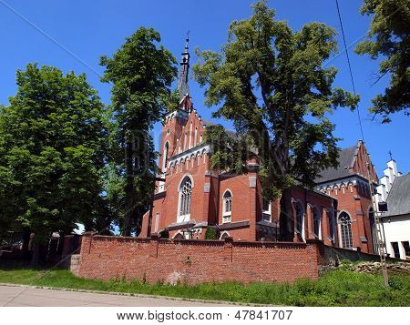 Church Of St. Adalbert In Wawolnica Near The Famous Chapel Of The Miraculous Statue Of Madonna