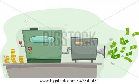 Illustration of a Money Making Machine Producing Dollars