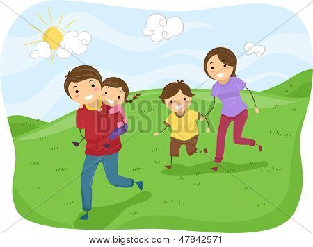Illustration of Stickman Family Running on the Hills