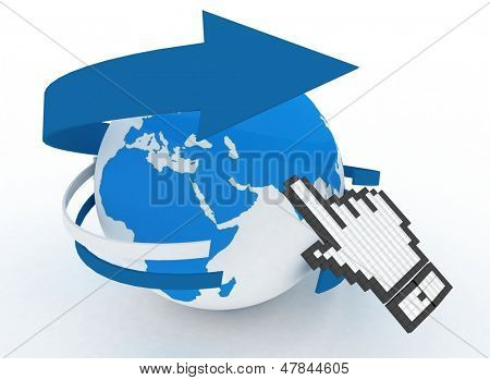 Earth globe and hand cursor. 3d illustration of internet world wide web concept