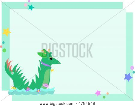 Frame Sea Serpent With Stars And Bubbles