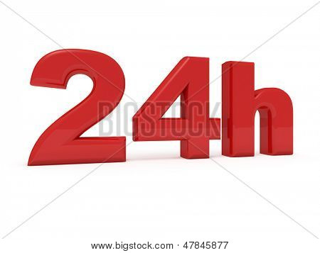 3d image of 24h on white background