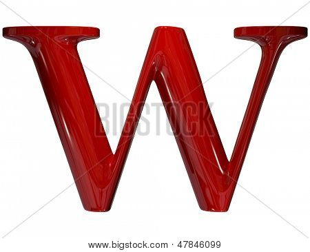 3d shiny red plastic ceramic uppercase letter - W