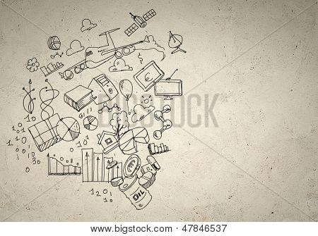 Business background image with drawn ideas and concepts. Collage