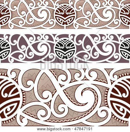 Maori styled seamless pattern. Raster image. Find an editable version in my portfolio.