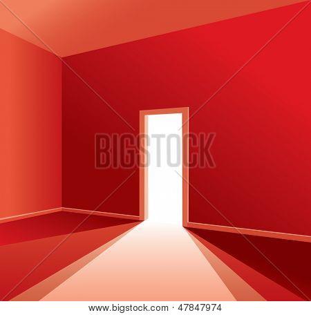 leere rote Zimmer mit geöffnete Tür