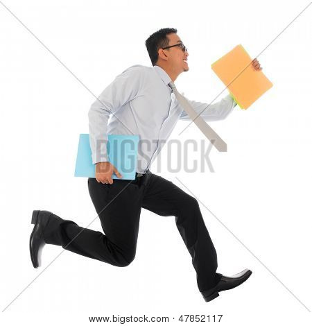 Full body young Asian businessman in hurry running or jumping up with some file and documents in his hand, isolated on white background
