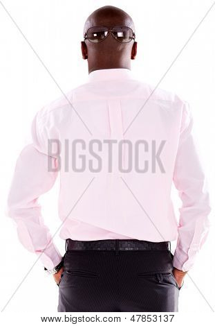 Man going incognito - isolated over a white background