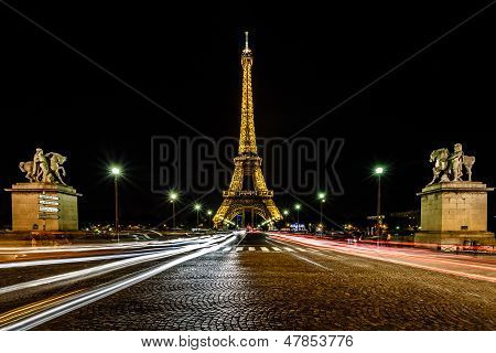 Eiffel Tower And Traffic Light Trails In The Night, Paris, France