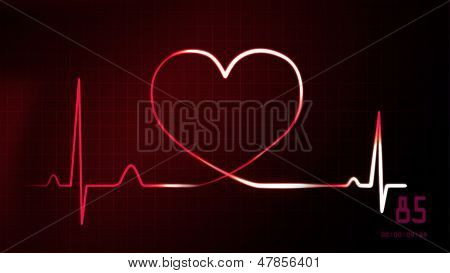 Heartbeat Red Of Ekg Monitor