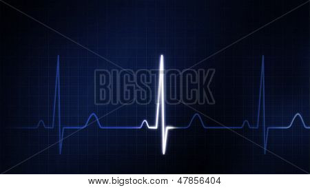 The Blue Graphic Of Ekg Monitor