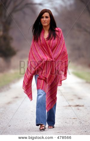 Pretty Woman In Red Shawl
