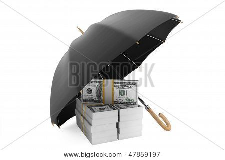 Save Money Concept. Stack Of Banknotes Under Umbrella