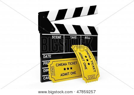 Movie Clapper Board And Admit One Tickets