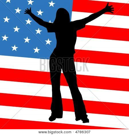 Women Silouet On American Flag